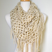 Oatmeal Ivory Off White Crochet with Tassels Infinity Loop Circle Chunky Scarf