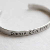 Harry Potter &quot;Dobby is a free elf&quot; Quote Bracelet