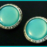 Vintage LISNER  Earrings Aqua Blue Lucite & Clear Rhinestones Silver Metal Clip On Style 1""