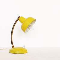 Vintage yellow lamp gooseneck desk  table 60s home decor