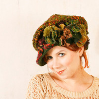 Crochet warm hat Green wool hat Woodland hat Olive green hat Crochet chunky hat Green knit hat Big woman cap Green crochet hat