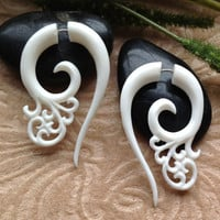 "Fake Gauge Earrings, ""Cecilia"" Naturally Organic, Bone, Hand Carved, Tribal"
