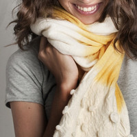 Neon Yellow scarf hand dyed with handcrafted shaped volumes at the edge