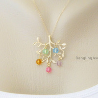 Gold Family Tree Necklace, Personalized FIVE Birthstone Necklace, Birthstone Necklace, Grandmother Jewelry, Family Necklace