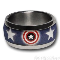 Captain America Shield & Stars Ring