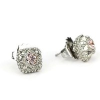 "Sorrelli ""French Blush"" Vintage Style Crystal Stud Silvertone Earrings: Jewelry: Amazon.com"