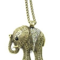 Elephant Necklace Ice Clear Crystal Animal Ethnic Tribal Vintage Charm Pendant Aurora Borealis: Jewelry: Amazon.com