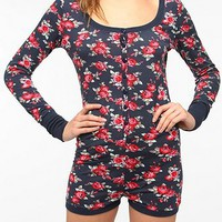 BDG Floral Button-Up Long-Sleeved Romper