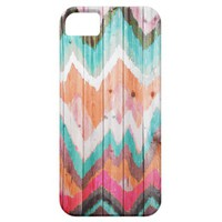 Andes Tribal Aztec orange chevron Ikat wood patt. iPhone 5 Cover from Zazzle.com