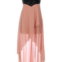 Sequin High-Low Dress - Kely Clothing