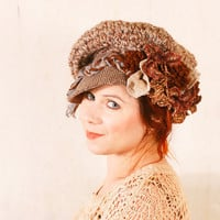 Chocolate brown hat Big chunky hat Brown crochet hat Brown newsboy hat Brown wool hat Big warm hat Chunky knit hat Winter hat Tweed knit hat