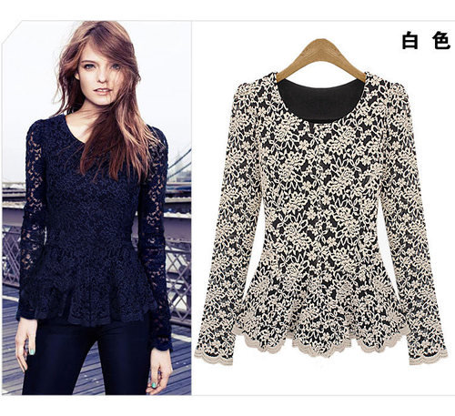 2012 New White Black Autumn Women Girl Gorgeous Princess Lace Shirts Blouse Tops