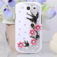 Bling Crystal  Swallows & Red Flowers Rhinestone Plastic Cell Phone Hard Cover Case for Samsung i9300 Galaxy S3