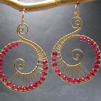 Luxe Bijoux 70 Hammered swirl shapes wrapped with pink ruby