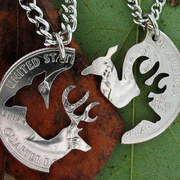 Doe Buck Relationship Interlocking Love Quarter, hand cut coin