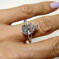 Rare..Estate Vintage 3.30ct Classic PEAR Cut Diamond Engagement Ring in PLATINUM with Baguettes, Circa 1950