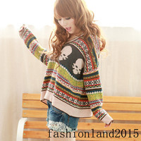 new hot V-NECK SWEATER PULLOVER JUMPER MULTI-COLOR S/M LY133