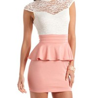 Lace Top Ponte Peplum Dress: Charlotte Russe