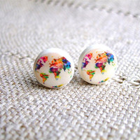 World Map Earring studs- Map of the world-  Whole Wide World- Colored world earrings- World Stud Earrings- Free shipping