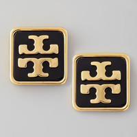 Enamel Square Logo Stud Earrings, Black