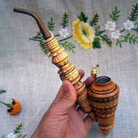 Tobacco pipe Wooden pipe Smoking pipe carved Tobacco pipes Smoking pipes Vintage style Wood gift Wooden pipes Wood pipes Wood carving P7