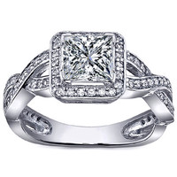 Engagement Ring - Princess Diamond Halo Pave Twisted band Engagement Ring in 14K White Gold - ES917PRWG