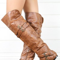 Nature Breeze Vickie16h Tan Buckled Flat Thigh Boots shop Boots at MakeMeChic.com