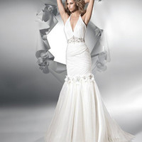 White Deep V Neck Halter Wedding Dresses : Wholesaleclothing4u.com