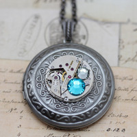 Steampunk Necklace Steam Punk Jewelry Locket - Vintage Pocket Watch Movement Clockwork Necklaces - Blue Zircon Swarovski Crystals