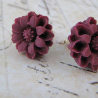Purple Floral Earrings, Plum Flower Earrings, Stud Post Earrings, Sterling Silver Stud Post Earrings, Resin Flower Cabochon Earrings
