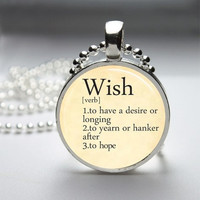 Photo Art Glass Bezel Pendant Wish Dictionary Definition Necklace
