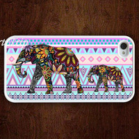 iPhone 4 Case, iphone 4s case -- aztec iphone case, Mama Elephant and Baby Elephant iphone case,colorful elephant on aztec iphone 4 case