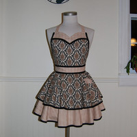 Black and Beige Damask Full Circle Skirt Apron with Sweetheart Neckline