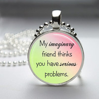 Photo Art Glass Bezel Pendant Imaginary Friend Funny Necklace