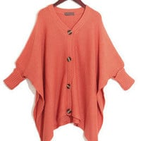 Womens Irregular Hem Batwing Loose Cardigan Sweater 2 Colors