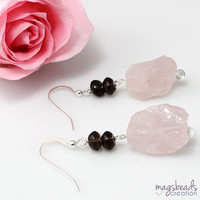 Rough Rose Quartz Earrings, Pink Quartz Earrings, Statement Earrings, Pink Pastel Earrings, Bold, Chunky Quartz Stone Jewelry