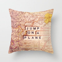 jump on a plane Throw Pillow by Sylvia Cook Photography | Society6