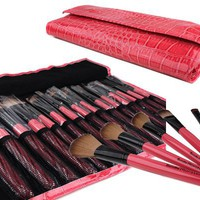 Bundle Monster 15pc Studio Pro Makeup Make Up Cosmetic Brush Set Kit w/ Pink Faux Crocodile Case - For Eye Shadow, Blush, Eyeliner, Etc.