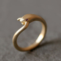 Michelle Chang: Ruby Snake Tail Ring Brass, at 24% off!
