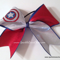 Cap'n Am Super Hero Cheer Bow Hair Bow Cheerleading