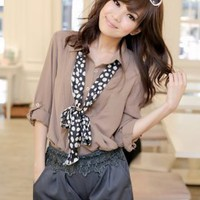 Korean Fashion Reflexed Sleeve Long Shirts Khaki : Wholesaleclothing4u.com