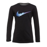 Nike Girls' Rainbow Swoosh Long Sleeve T-shirt