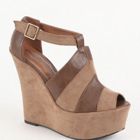 Qupid Kunis Peep Toe Wedge Sandals at PacSun.com