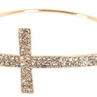 Gold with Clear Iced Out Cross Bracelet