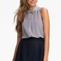 Lush Embellished Collar Sleeveless Shirt (Juniors) | Nordstrom