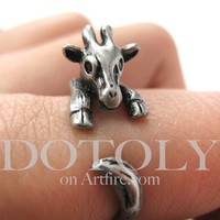 PRE ORDER Miniature Baby Giraffe Ring in Silver Sizes 4 to 9 available by Dotoly