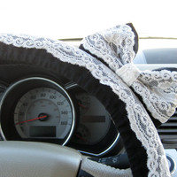Black & Lace Steering Wheel Cover with Matching Bow