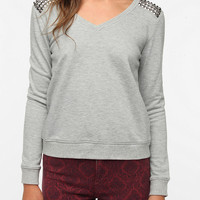 Sparkle &amp; Fade Spiked Shoulder Sweatshirt