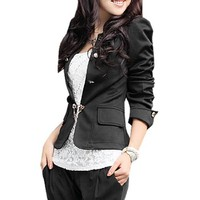Allegra K Women Double Breasted Long Puff Sleeve Casual Blazer Coat Black M