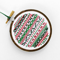 "Embroidered Christmas Ornament in Red, Green and White - Embroidery Hoop Decoration with Layers of Stitches- Winter & Holiday Decor 3"" Hoop"